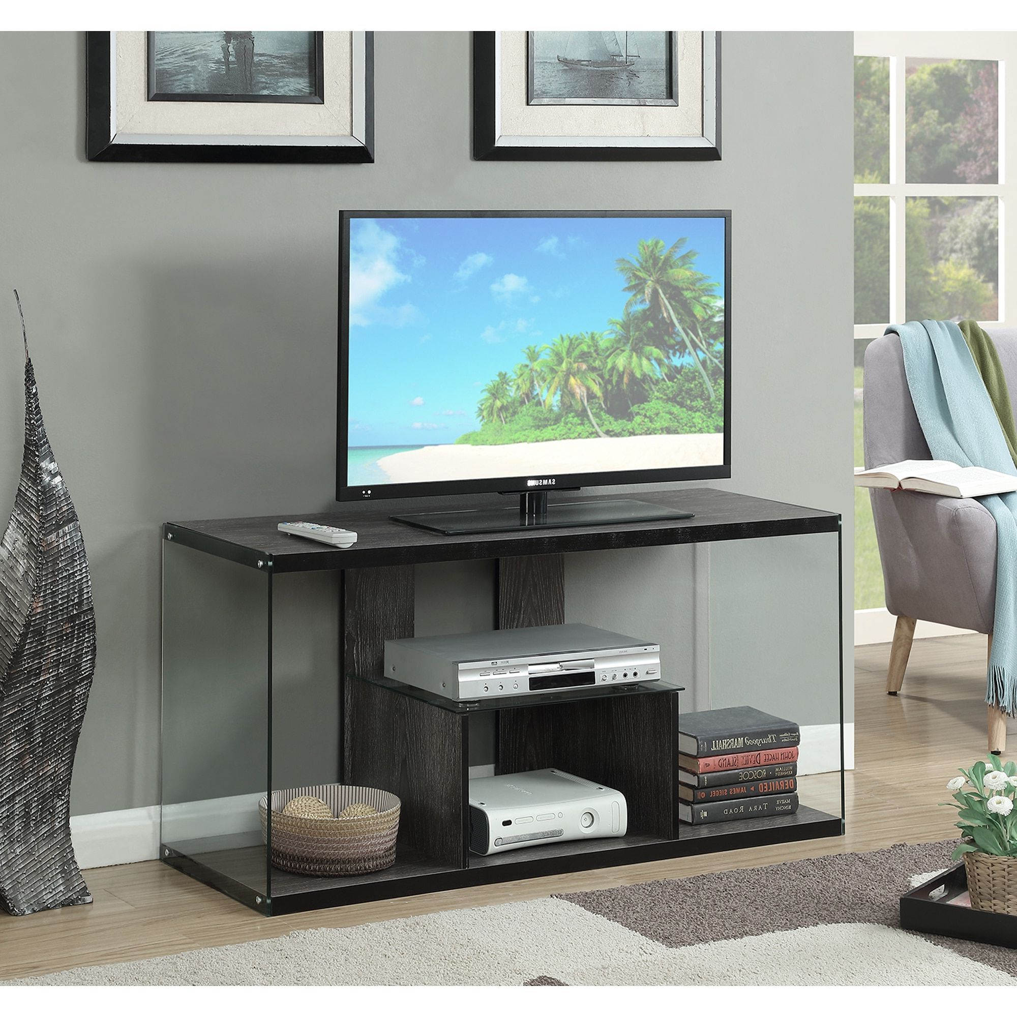 Most Current Soho Tv Cabinets Throughout Convenience Concepts Soho Wood And Glass Tv Stand (Weathered Gray (View 8 of 20)