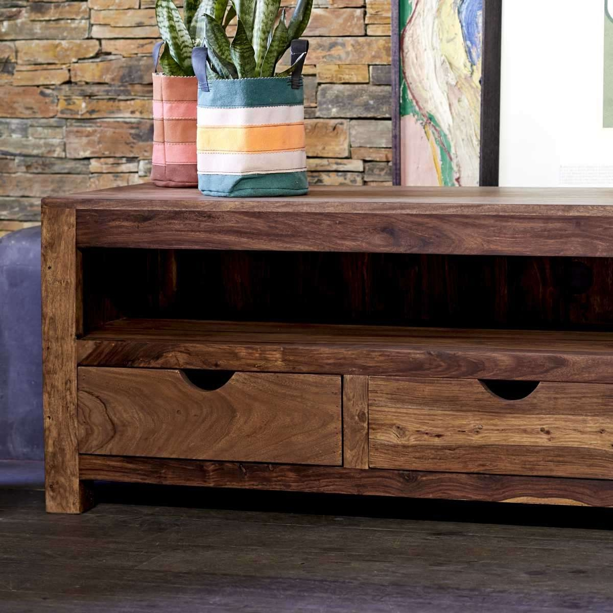 Most Current Tikamoon Small Tv Cabinet Entertainment Unit Stand Sheesham For Wood Intended For Sheesham Wood Tv Stands (Gallery 5 of 20)