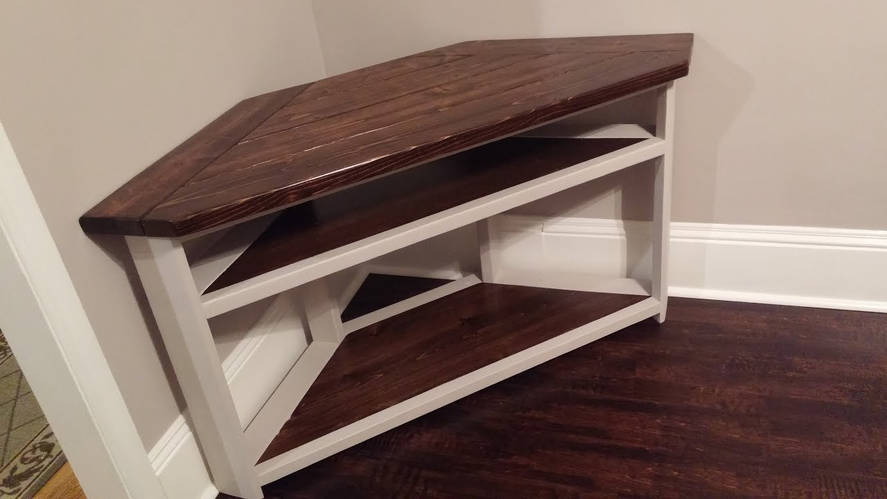 Most Current Triangular Tv Stands Regarding Diy Corner Tv Stand – Farmhouse Style – Youtube (View 10 of 20)