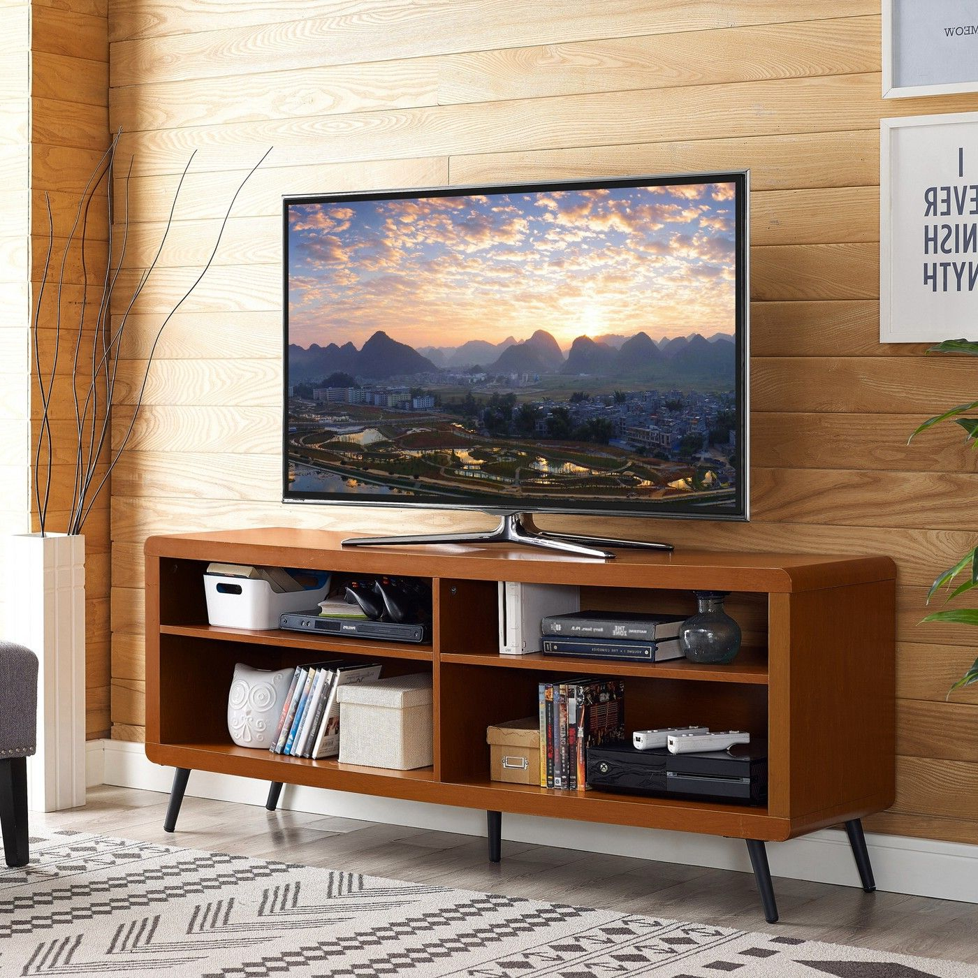 """Most Current Tv Stands Rounded Corners With Regard To 58"""" Rounded Corner Wood Console – Acorn/black – Saracina Home (View 8 of 20)"""