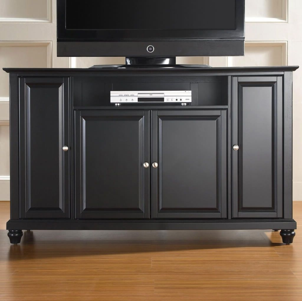 Most Current Very Tall Tv Stands Pertaining To Furniture: Retro Black Oak Wood Tall Tv Stand With Storage Using (View 12 of 20)