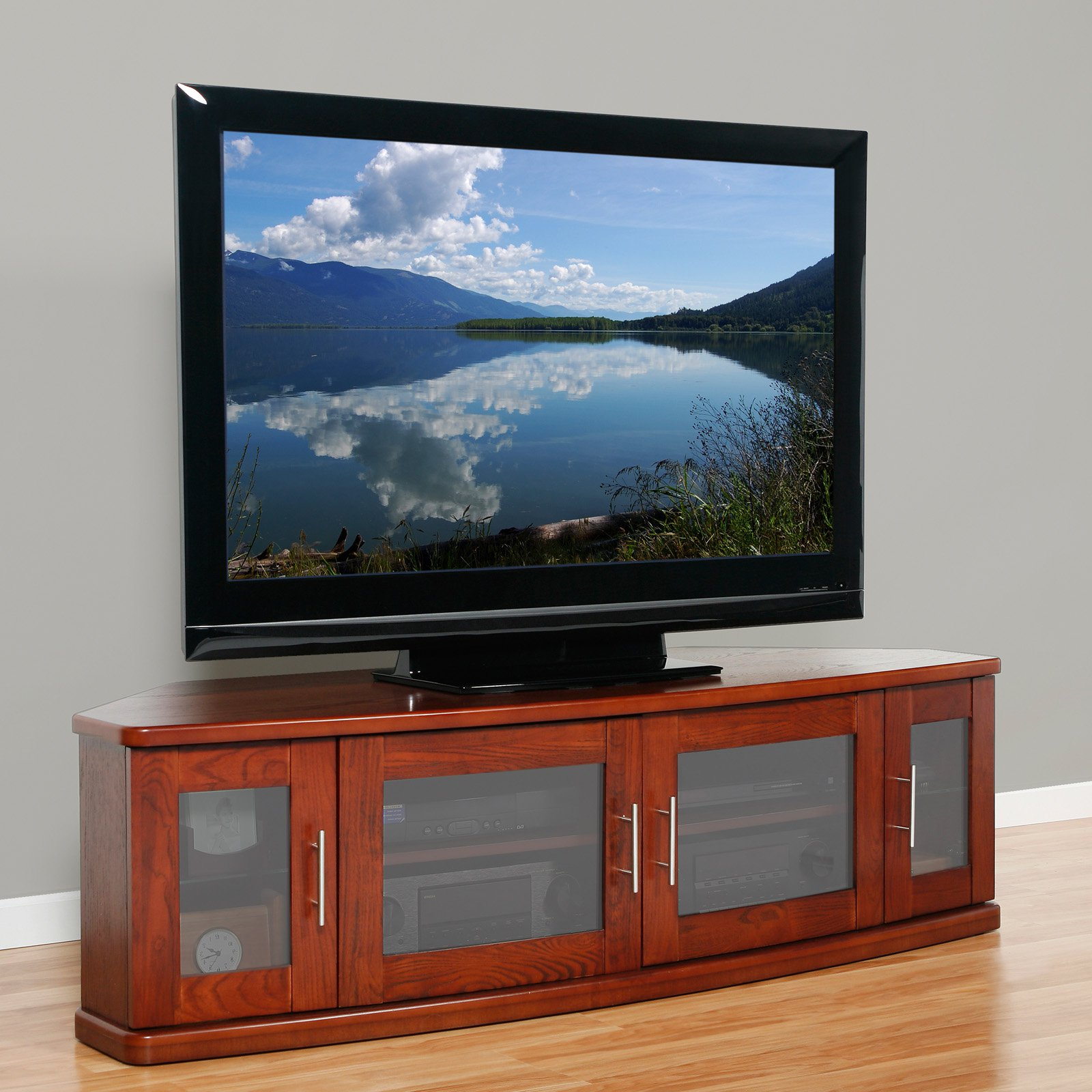 Most Current Wooden Tv Stands With Glass Doors Intended For Plateau Newport 62 Inch Corner Tv Stand In Walnut Tv Stands On Popscreen (View 8 of 20)