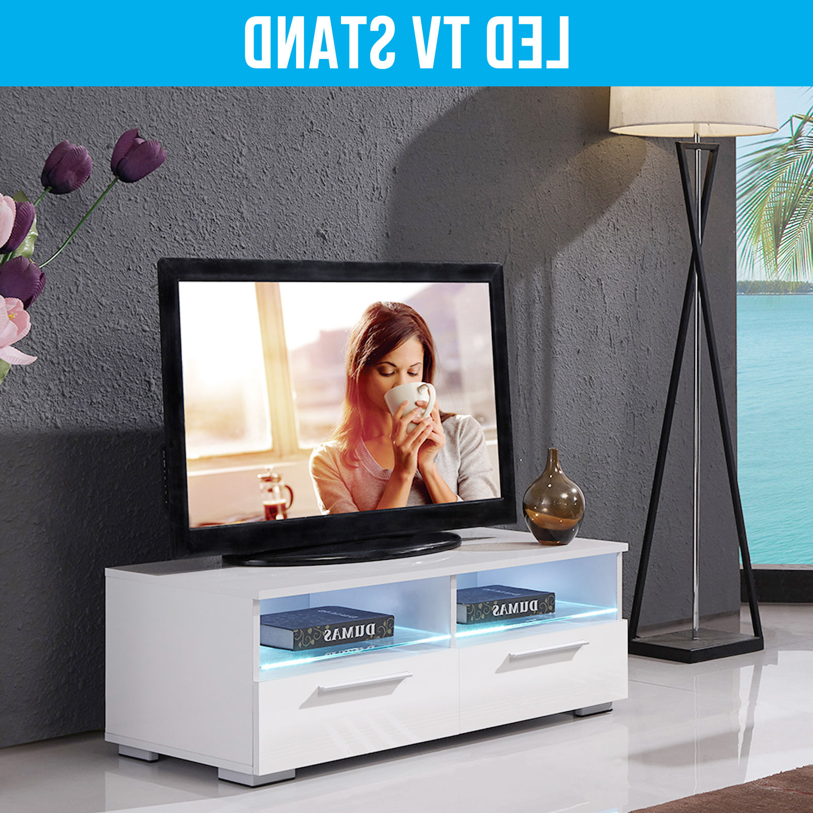 Most Popular 100Cm Tv Stands Pertaining To Modern 100Cm High Gloss White Rgb Led Tv Stand Unit Cabinet Living (View 8 of 20)