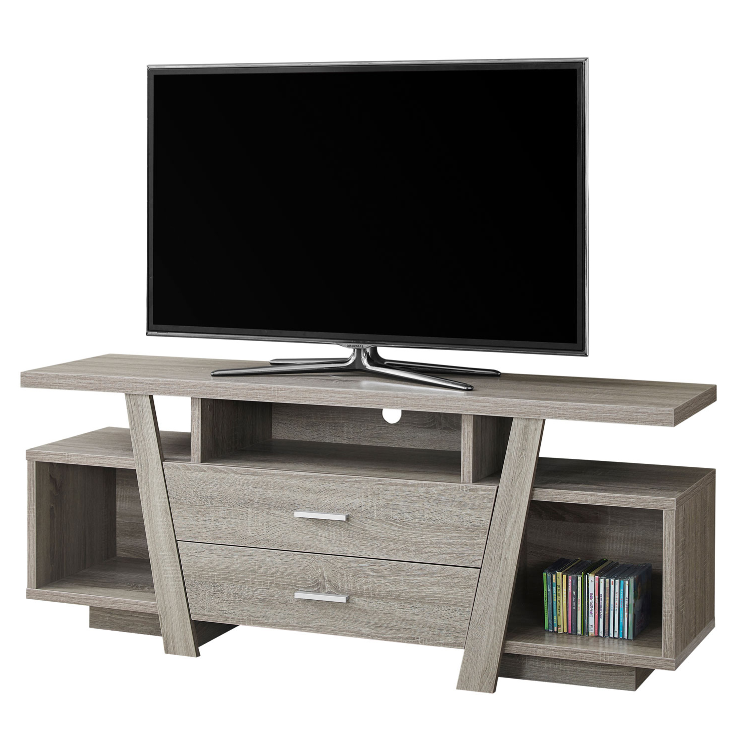 Most Popular 24 Inch Wide Tv Stands Inside Hawthorne Ave Tv Stand 60L / Dark Taupe With 2 Storage Drawers I (View 11 of 20)