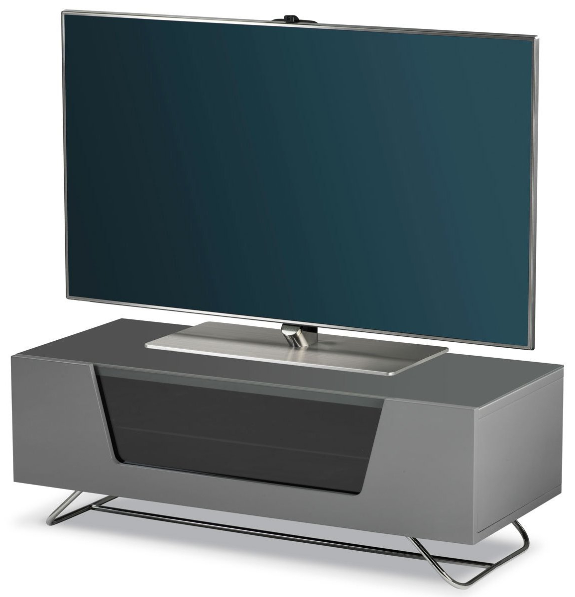 """Most Popular Alphason Chromium Grey Tv Stand For Up To 50"""" Tvs Intended For White Gloss Oval Tv Stands (View 13 of 20)"""