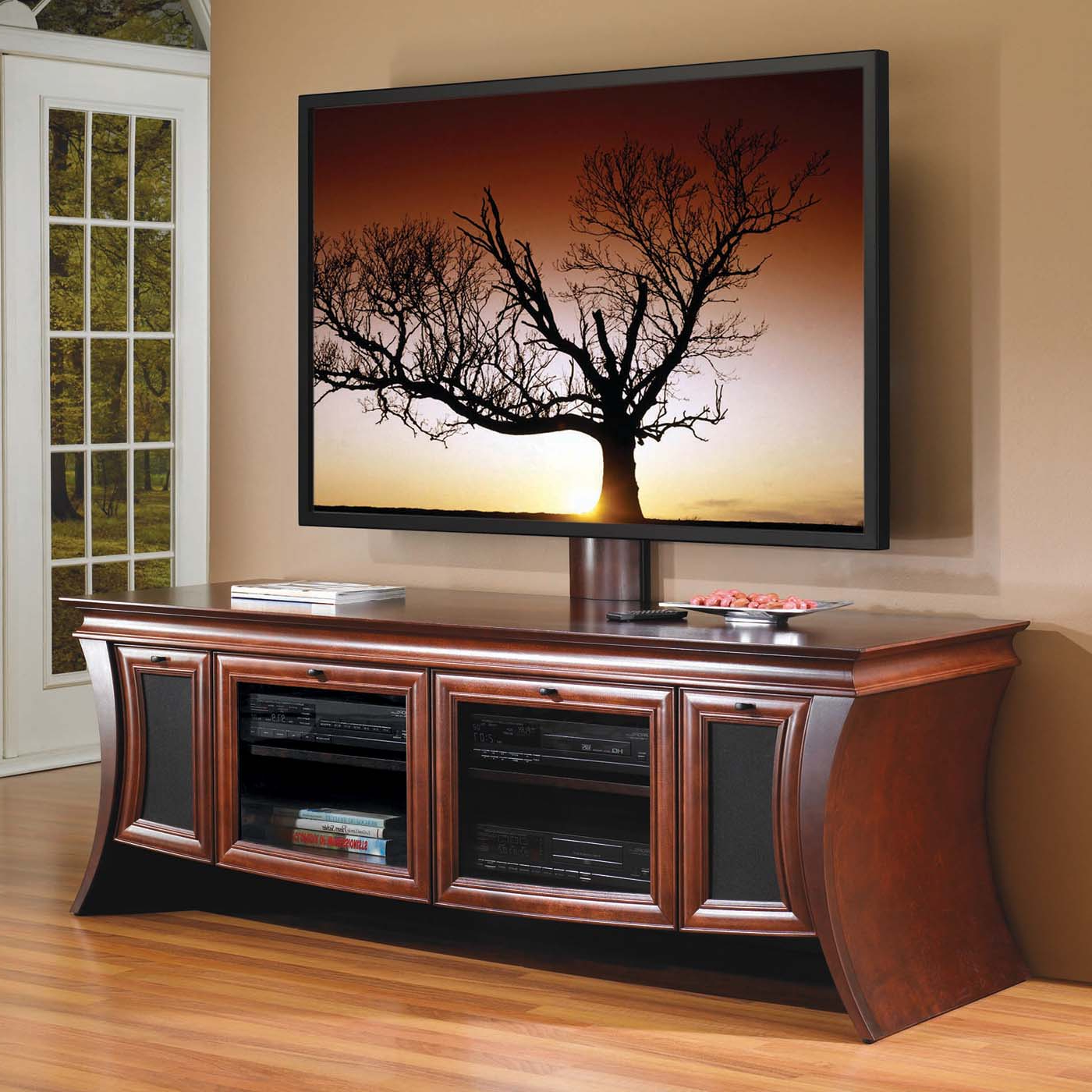 Most Popular Amish Tv Stand Ohio Solid Wood Media Console Corner Entertainment With Regard To Wooden Tv Stands With Glass Doors (View 9 of 20)