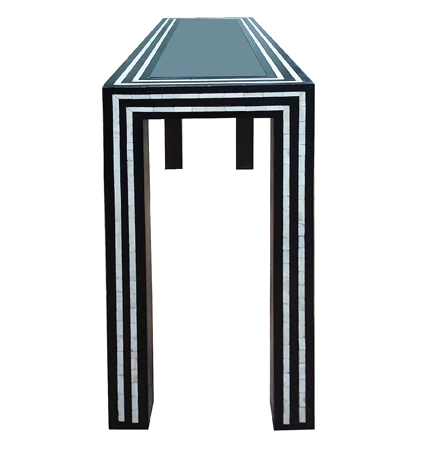 Most Popular Black And White Pearl Inlay Console: Glass And Inlay Console Table With Black And White Inlay Console Tables (View 12 of 20)