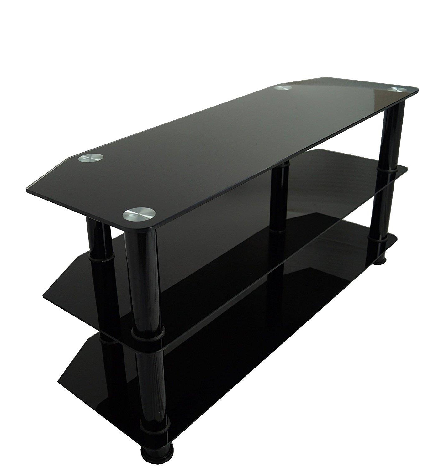 Most Popular Black Glass Tv Stand For 32 Inch Up To 60 Inch 3D Led Lcd & Plasma Intended For Black Glass Tv Stands (View 15 of 20)