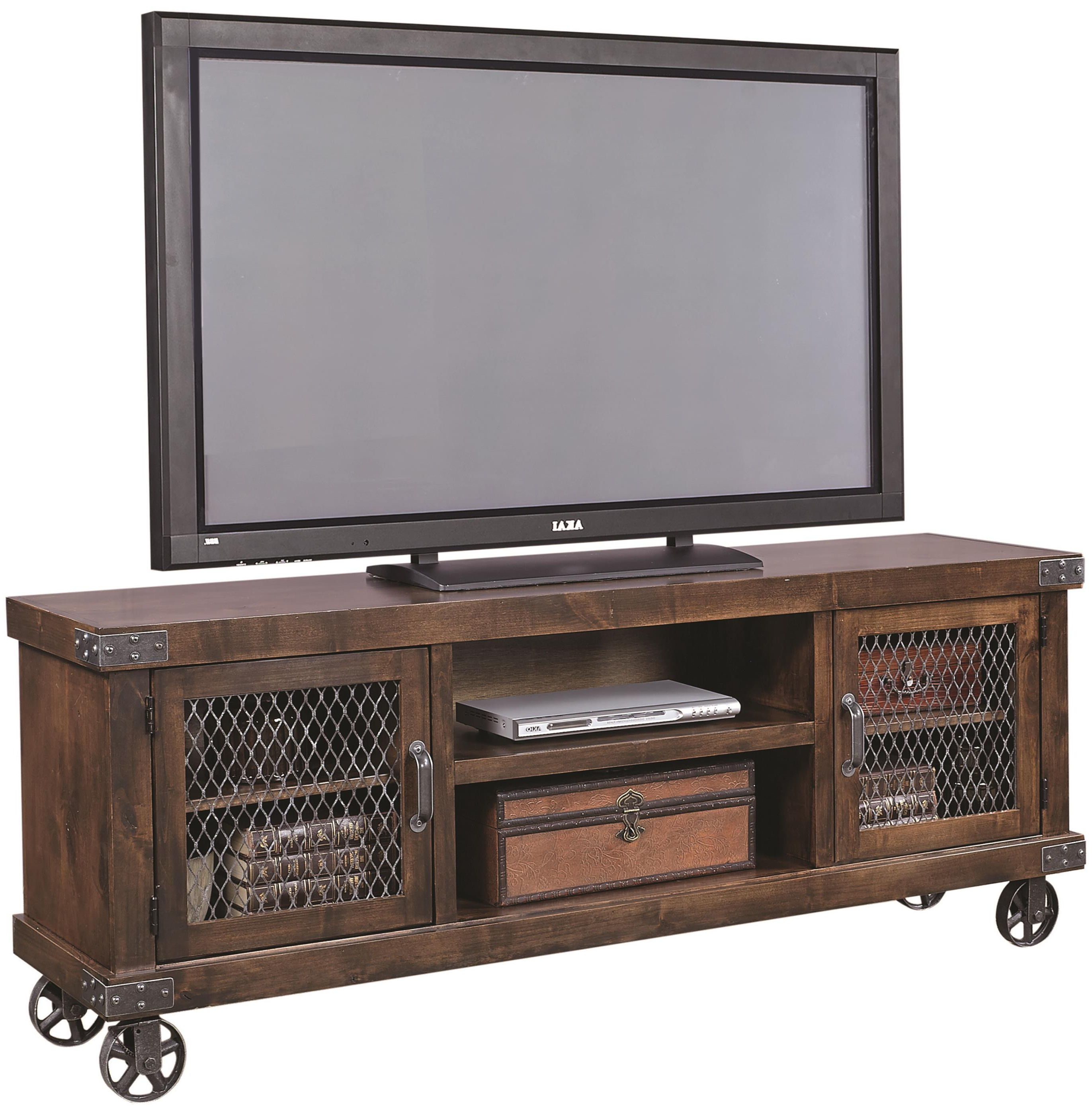"Most Popular Canyon 74 Inch Tv Stands Within Aspenhome Industrial 74"" Console With 2 Doors And Casters (View 13 of 20)"