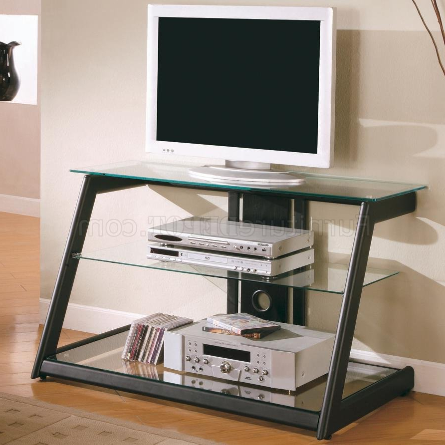 Most Popular Clear Glass Top & Shelves Modern Tv Stand W/black Metal Base Regarding Wood Tv Stands With Glass Top (View 8 of 20)