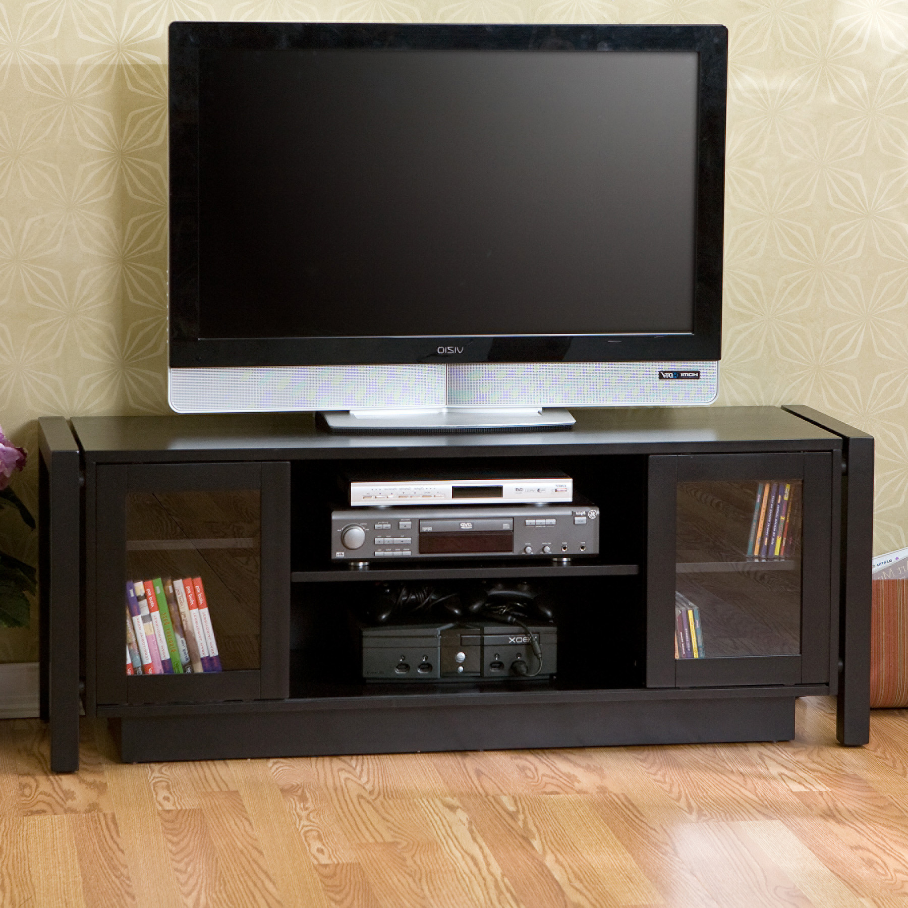 Most Popular Cool Black Tv Cabinets With Glass Doors And Dvd Player Shelf For Inside Glass Tv Cabinets With Doors (View 12 of 20)