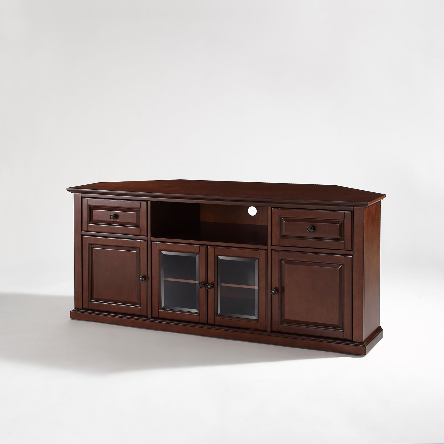 Most Popular Corner 60 Inch Tv Stands Regarding Corner Tv Stand In Crosley Furniture Inch Vintage Mahogany Plans (View 2 of 20)