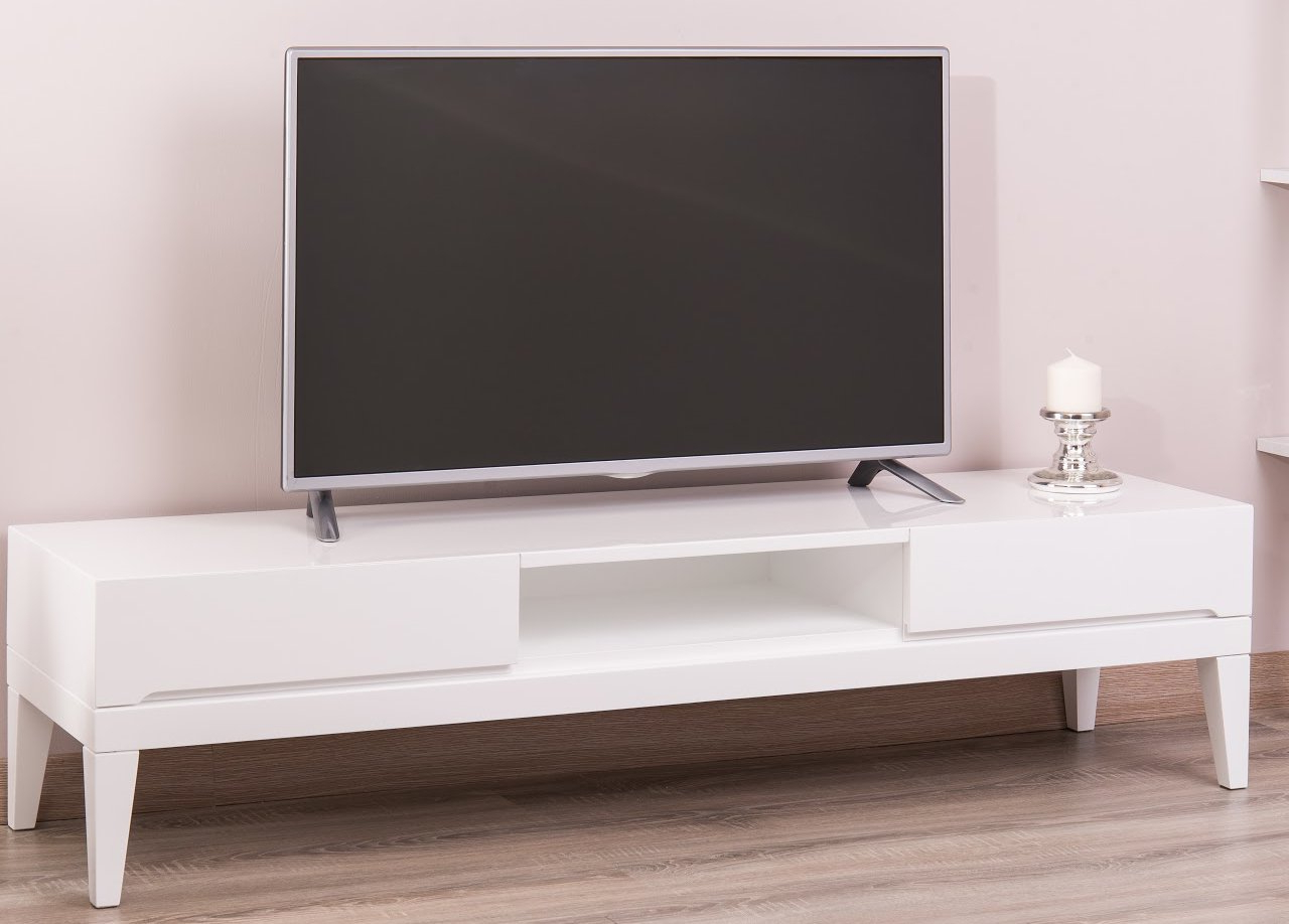 Most Popular Corrigan Studio Ariah Lacquer Modern Tv Stand For Tvs Up To 60 Inside Modern White Lacquer Tv Stands (View 14 of 20)