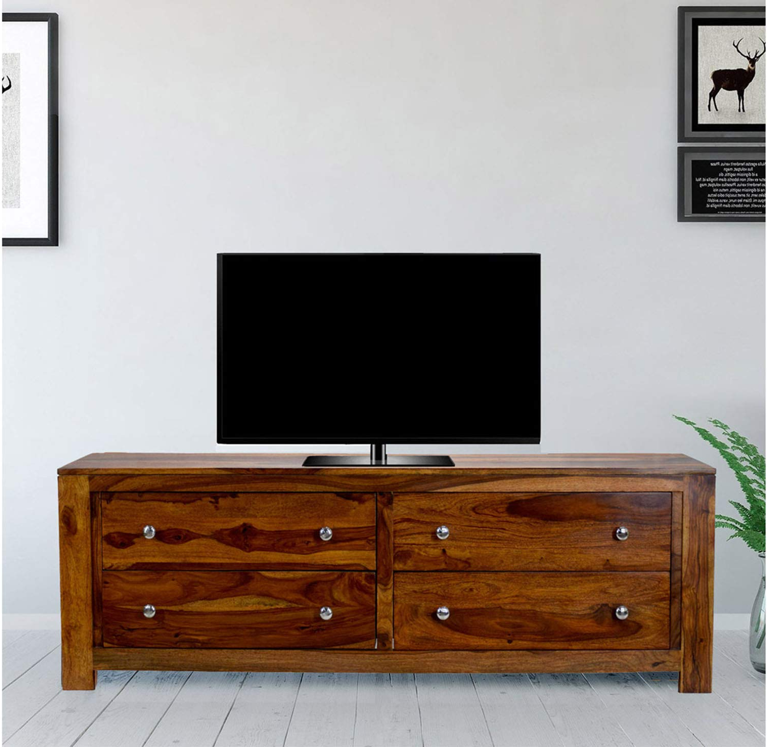 Most Popular Daintree Tv Stands With Regard To Daintree 4Draw Tvc Nt Tv Unit Cabinet (Lacquer Finish, Natural Teak (Gallery 1 of 20)