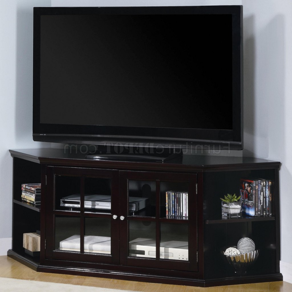 Most Popular Espresso Finish Modern Corner Tv Stand W/2 Glass Doors & Shelves With Regard To Contemporary Corner Tv Stands (View 2 of 20)