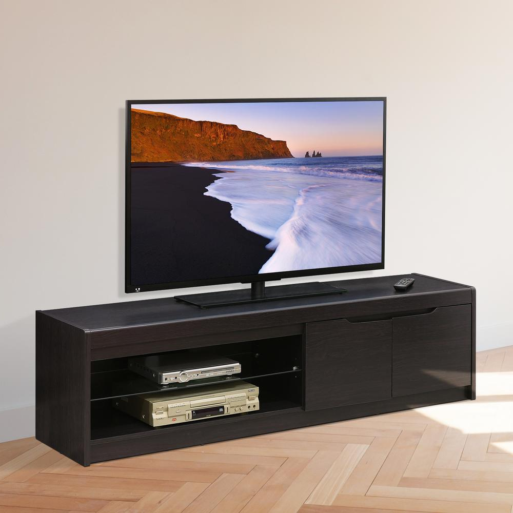 Most Popular Furinno Indo Wenge 2 Doors And Glass Shelf Entertainment Center Throughout Wenge Tv Cabinets (View 11 of 20)