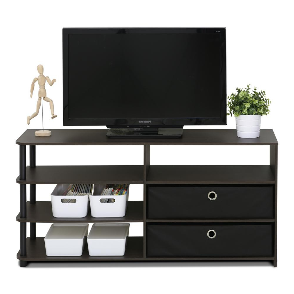 Most Popular Furinno Jaya Walnut Simple Design Tv Stand 15078wnbk – The Home Depot Pertaining To Tv Stands With Drawers And Shelves (View 5 of 20)