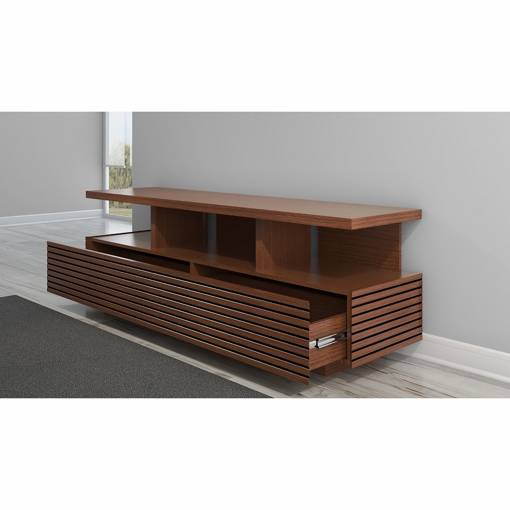 "Most Popular Furnitech – 71"" Sleek Contemporary Tv Stand Media Console In Autumn Pertaining To Sleek Tv Stands (View 10 of 20)"