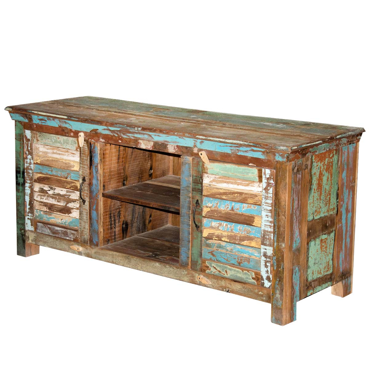 Most Popular Furniture: Rustic Shutter Doors Reclaimed Wood Tv Stand Media Inside Rustic Pine Tv Cabinets (View 19 of 20)