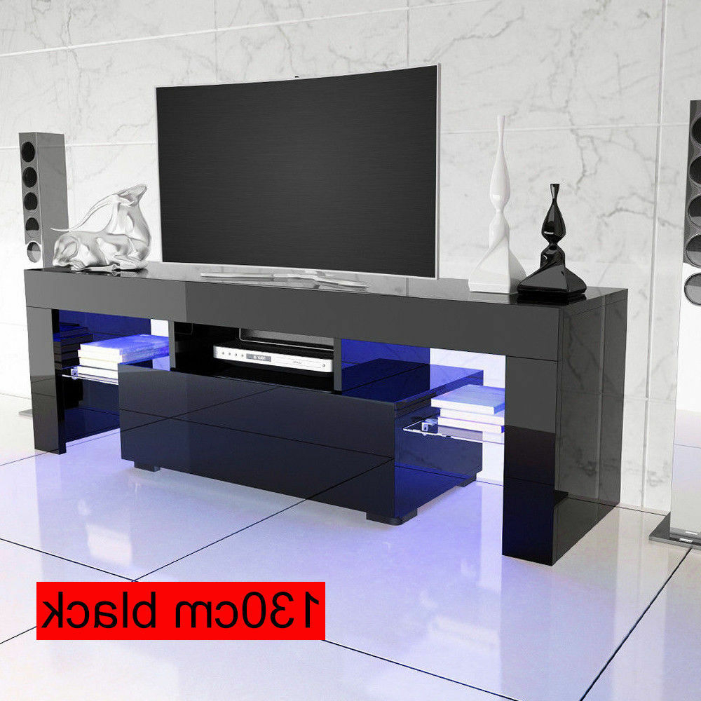 Most Popular Glass Fronted Tv Cabinet In Front High Gloss Tv 130Cm Cabinet Stand Drawer Free Led Lights Glass (View 10 of 20)