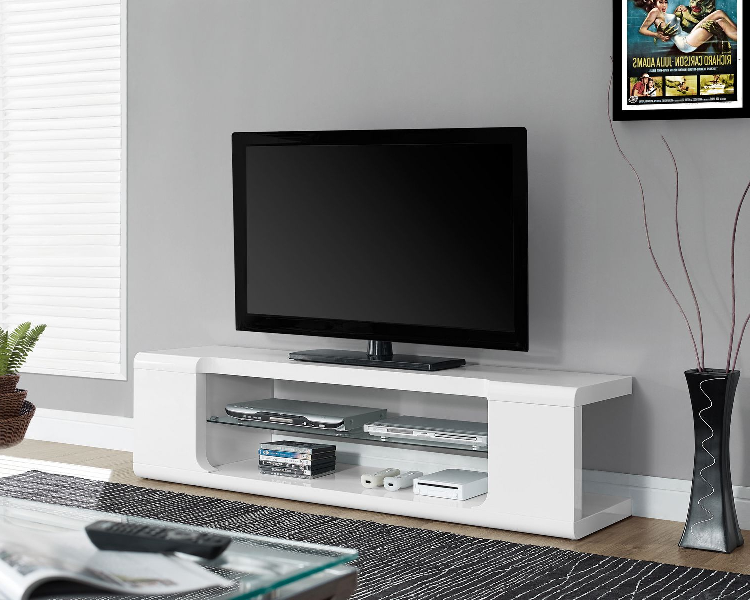 "Most Popular High Gloss White Tv Stands Regarding Monarch Specialties Tv Stand – Glossy White, 60""l (View 9 of 20)"