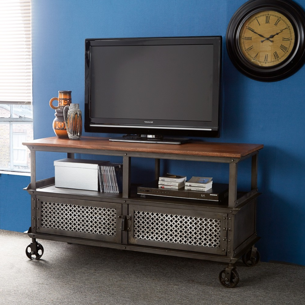 Most Popular Industrial Tv Cabinets Within Tv Stand Urban Industrial – Buyouapp (View 19 of 20)