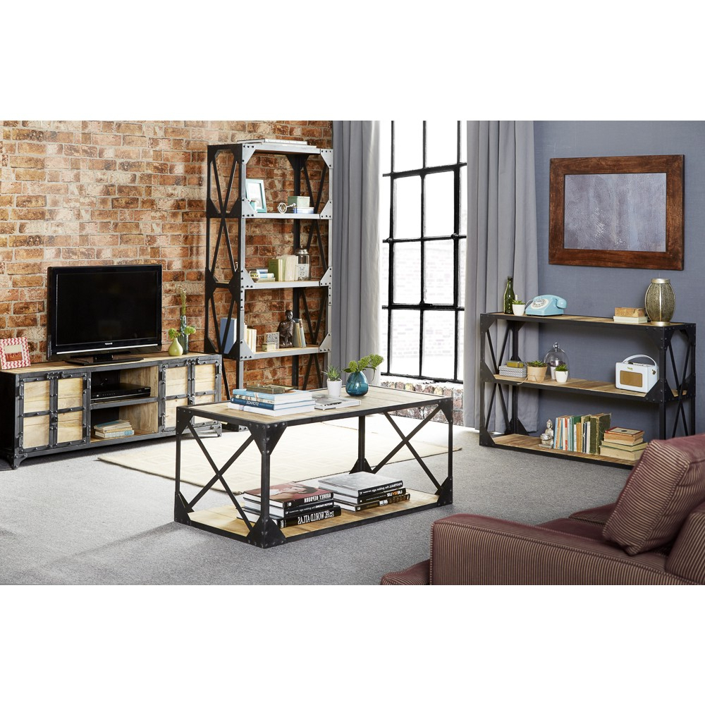 Most Popular Metal And Wood Tv Stands In Vintage Industrial Metal And Wood Tv Stand Console Table (View 9 of 20)