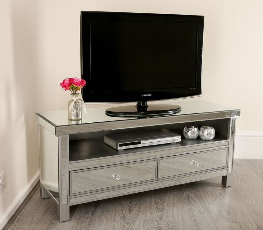Most Popular Mirrored Tv Cabinets Furniture With Mirrored Tv Stand Unit Storage Cabinet Glass Furniture Venetian (View 18 of 20)