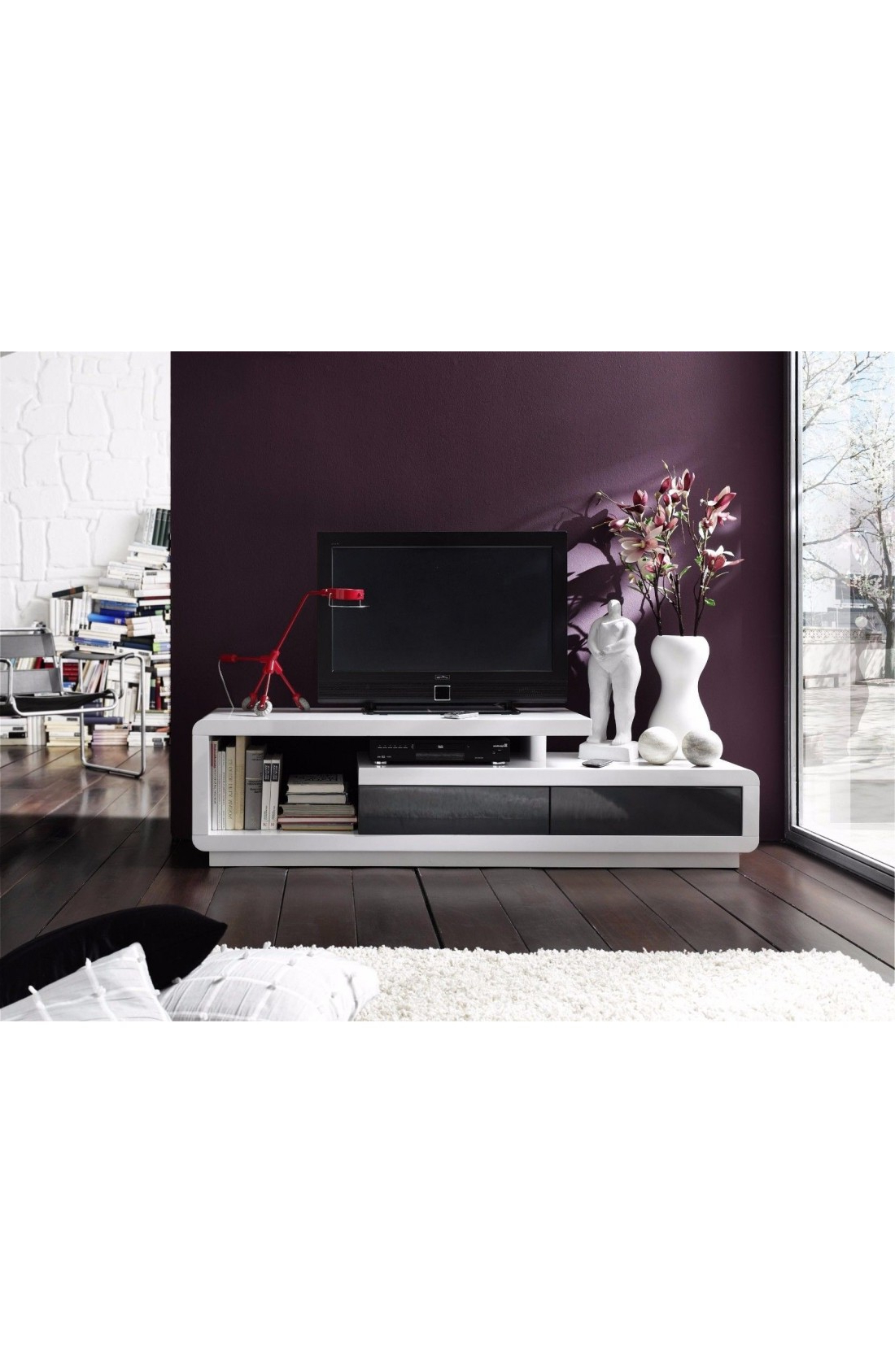 Most Popular Modanuvo White And Grey High Gloss Tv Unit Cabinet Stand Lowboard Inside High Gloss Tv Cabinets (View 4 of 20)