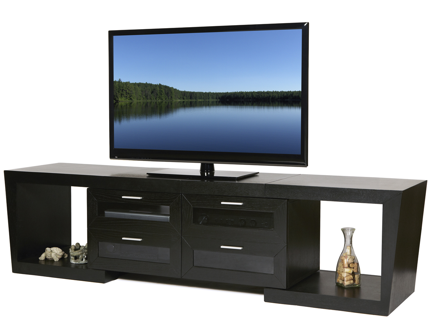 Most Popular Modern Tv Stands For Flat Screens Within Rectangle Black Narrow Short Tv Stand With Square Shelves And Glass (View 10 of 20)