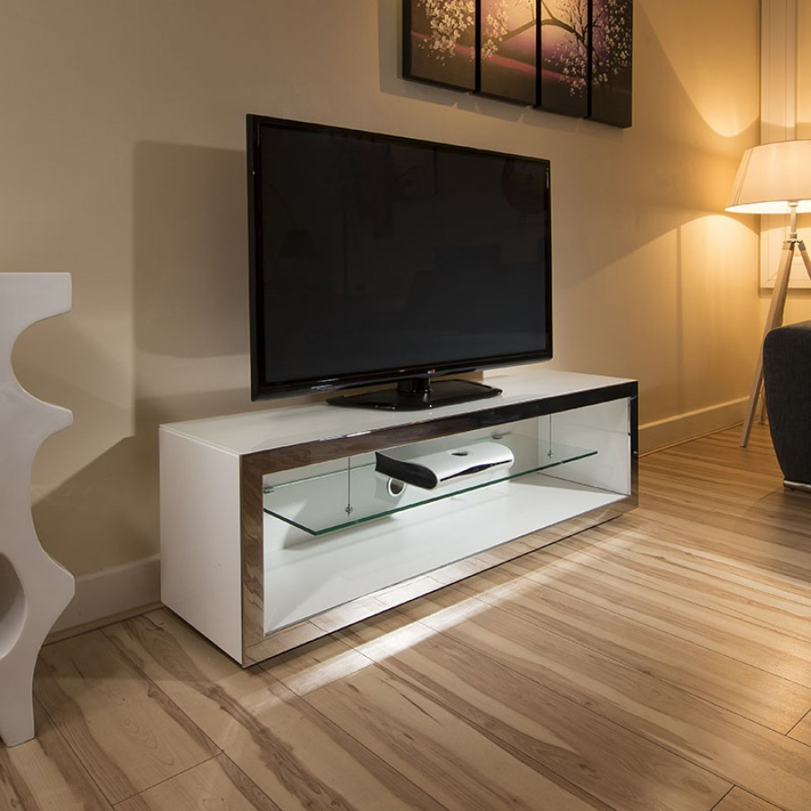 Most Popular Modern White Gloss Tv Stands With Tv Stand Cabinet Unit Large 1.5Mtr White Gloss Stainless Modern 182F (Gallery 14 of 20)