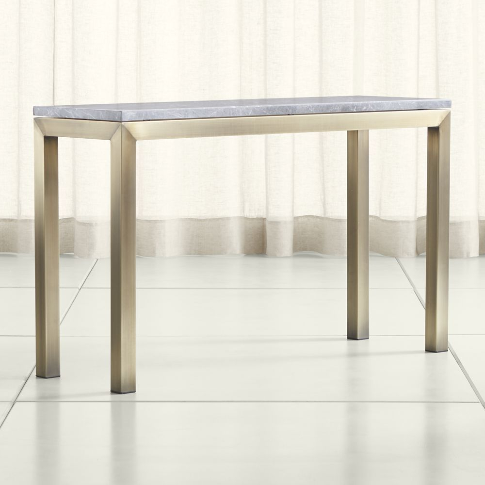 Most Popular Parsons Grey Marble Top/ Brass Base 48X16 Console (Gallery 1 of 20)
