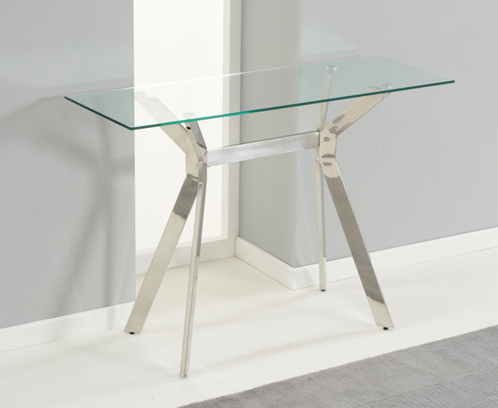 Most Popular Small Glass Console Table : Console Table – Glass Console Table Throughout Elke Glass Console Tables With Brass Base (View 11 of 20)