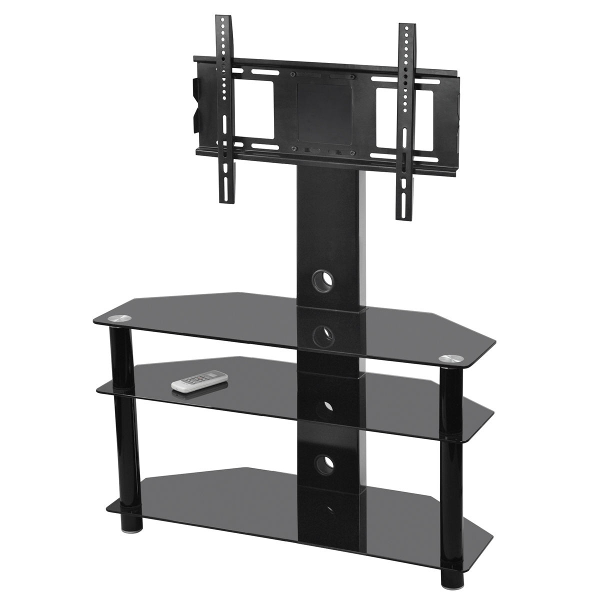 Most Popular Small Tv Stand With Mount Black Glthree Tiers Shelves Corner For Throughout Telly Tv Stands (View 3 of 20)