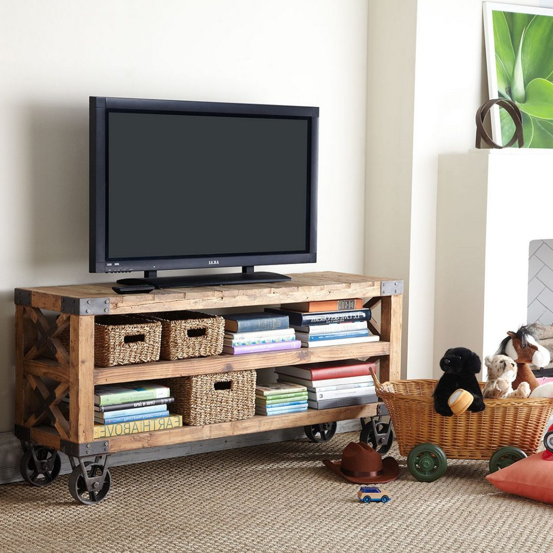 Most Popular Small Tv Stands On Wheels Within Small Tv Stand With Mount Diy Moveable Wheels – Buyouapp (Gallery 4 of 20)