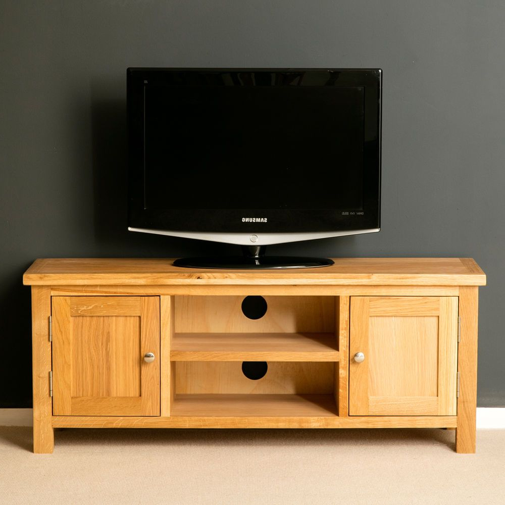 Most Popular Solid Oak Tv Stands With London Oak Tv Stand / Light Oak Plasma Tv Cabinet / Solid Wood Large (Gallery 7 of 20)