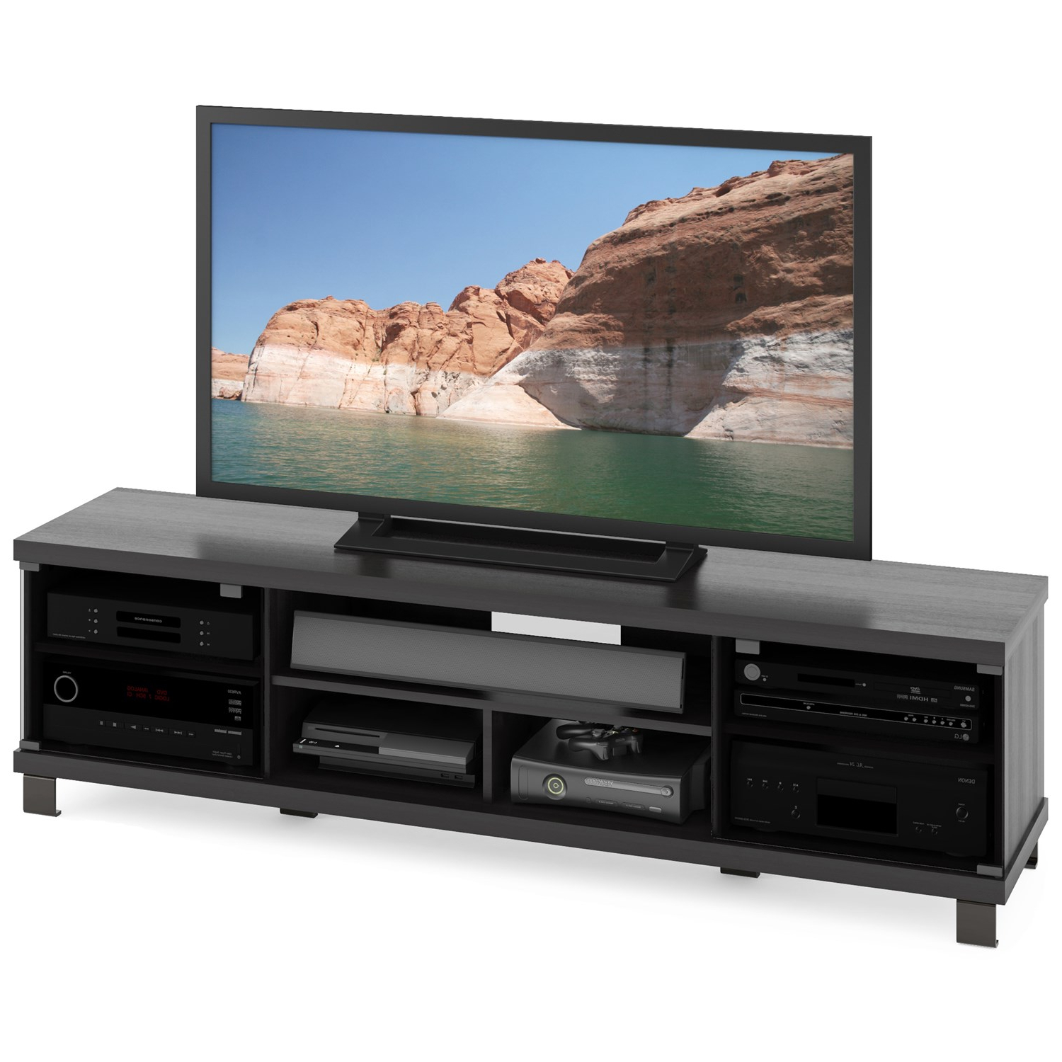 "Most Popular Sonax B 207 Cht Holland 71"" Extra Wide Tv Stand In Ravenwood Black Throughout Sonax Tv Stands (View 20 of 20)"