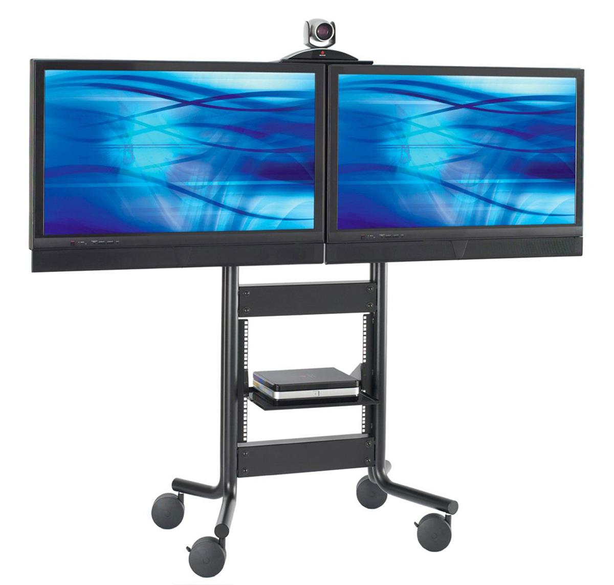 Most Popular These Dual Tv Stands On Wheels Have A Moveable Camera Shelf! These Throughout Dual Tv Stands (Gallery 3 of 20)