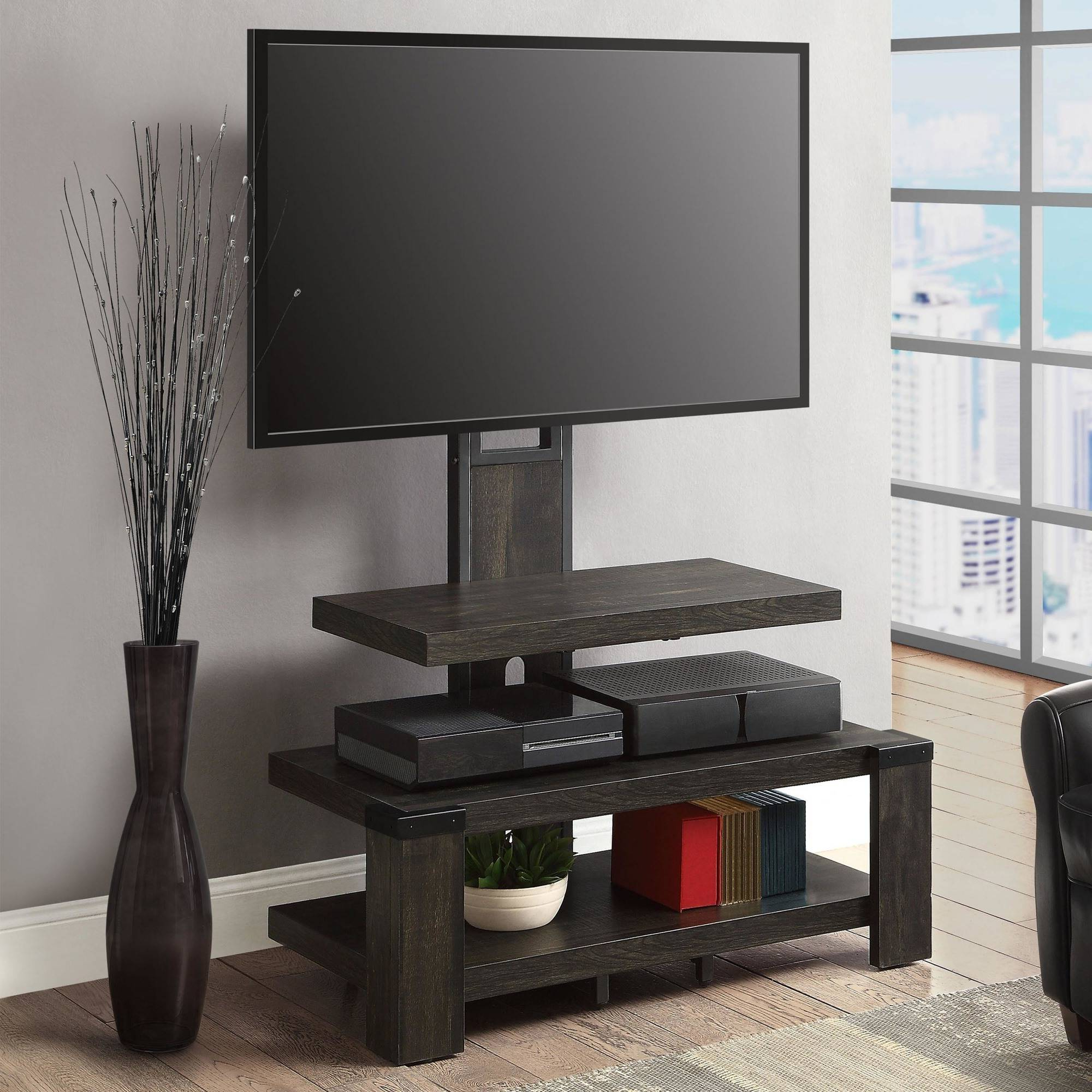 Most Popular Tv Stands With Mount In Wood Tv Stand With Mount Durable 3 Shelf Home Tv Entertainment Media (View 5 of 20)