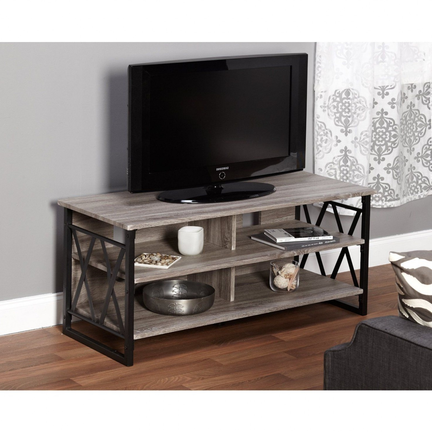 Most Popular Unique Amazon Metro Shop Seneca Xx 48 Inch Black Grey Tv Stand For Sinclair Grey 74 Inch Tv Stands (View 10 of 20)
