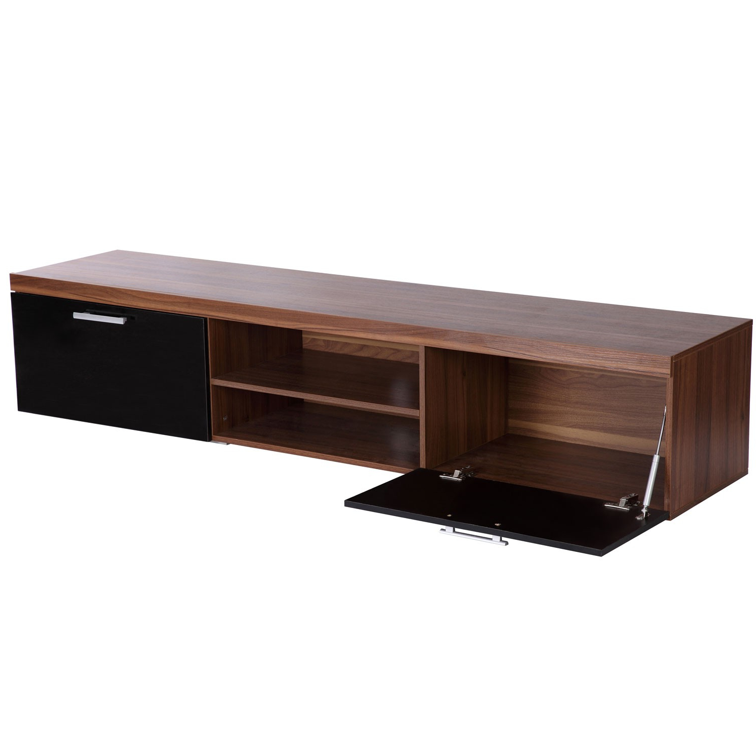 Most Popular Walnut And Black Gloss Tv Units With Regard To Homcom Tv Cabinet Unit, 2 High Gloss Doors Black/walnut (View 18 of 20)
