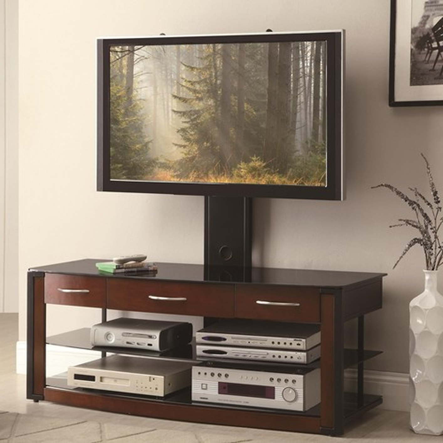 Most Popular Wood Tv Stands With Glass Top Pertaining To Brown Wood Tv Stand – Steal A Sofa Furniture Outlet Los Angeles Ca (View 9 of 20)