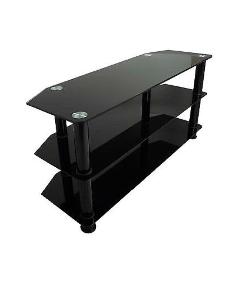 Most Recent All Black Gloss Glass Tv Stand For Large Led Lcd Plasma Television Within Long Black Tv Stands (View 10 of 20)