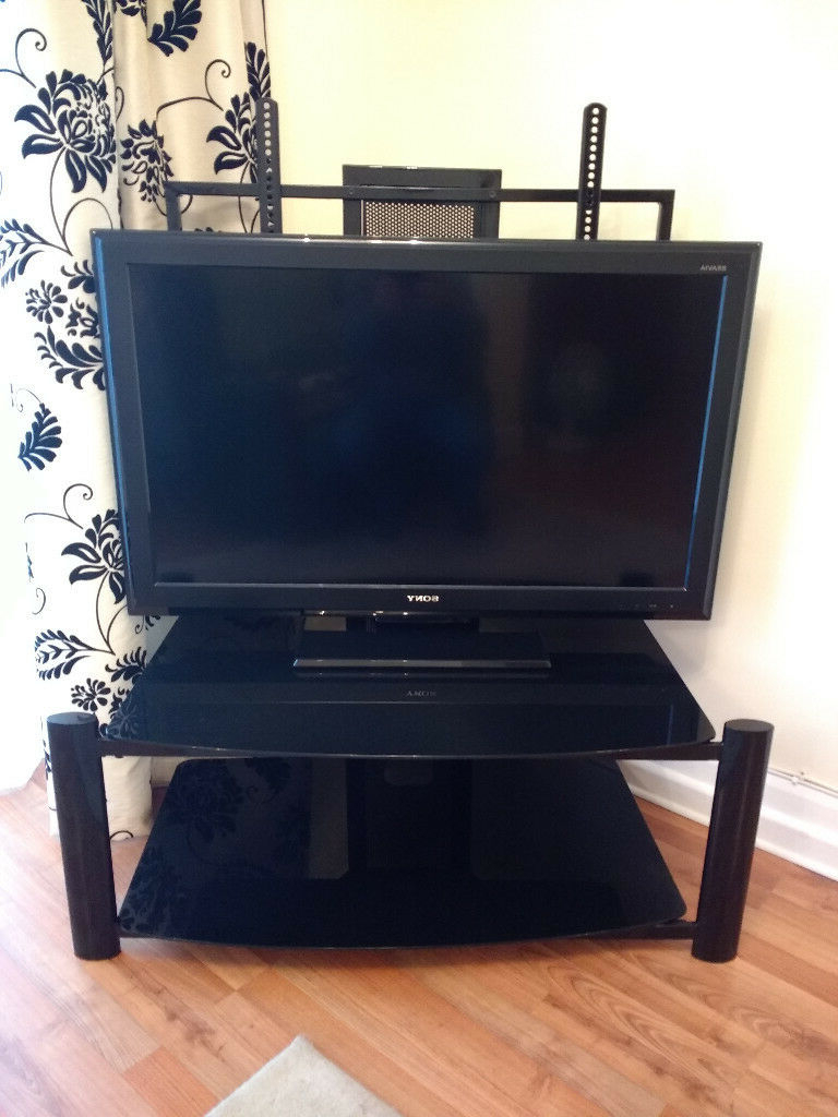 Most Recent Black Glass And Steel Cantilever Tv Stand (View 13 of 20)