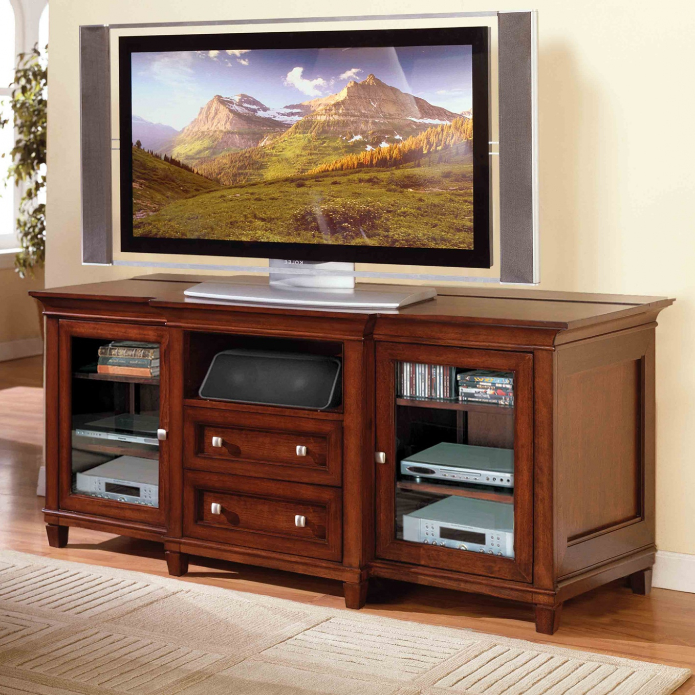 Most Recent Brown Mahogany Wood Flat Screen Tv Stand With Storage — Rabbssteak Pertaining To Tall Tv Stands For Flat Screen (View 12 of 20)