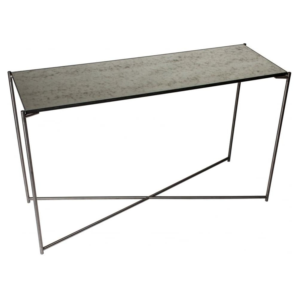 Most Recent Buy Antiqued Glass Console Table & Gunmetal Base At Fusion Living Pertaining To Gunmetal Media Console Tables (View 11 of 20)