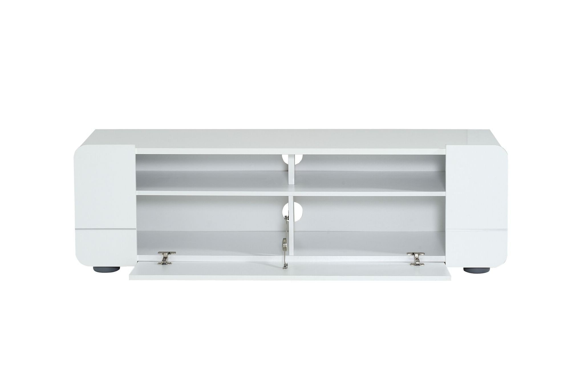 Most Recent Buy Courbe White Gloss Tv Unit With Flap Cupboard 150Cm Within White Gloss Tv Benches (View 11 of 20)