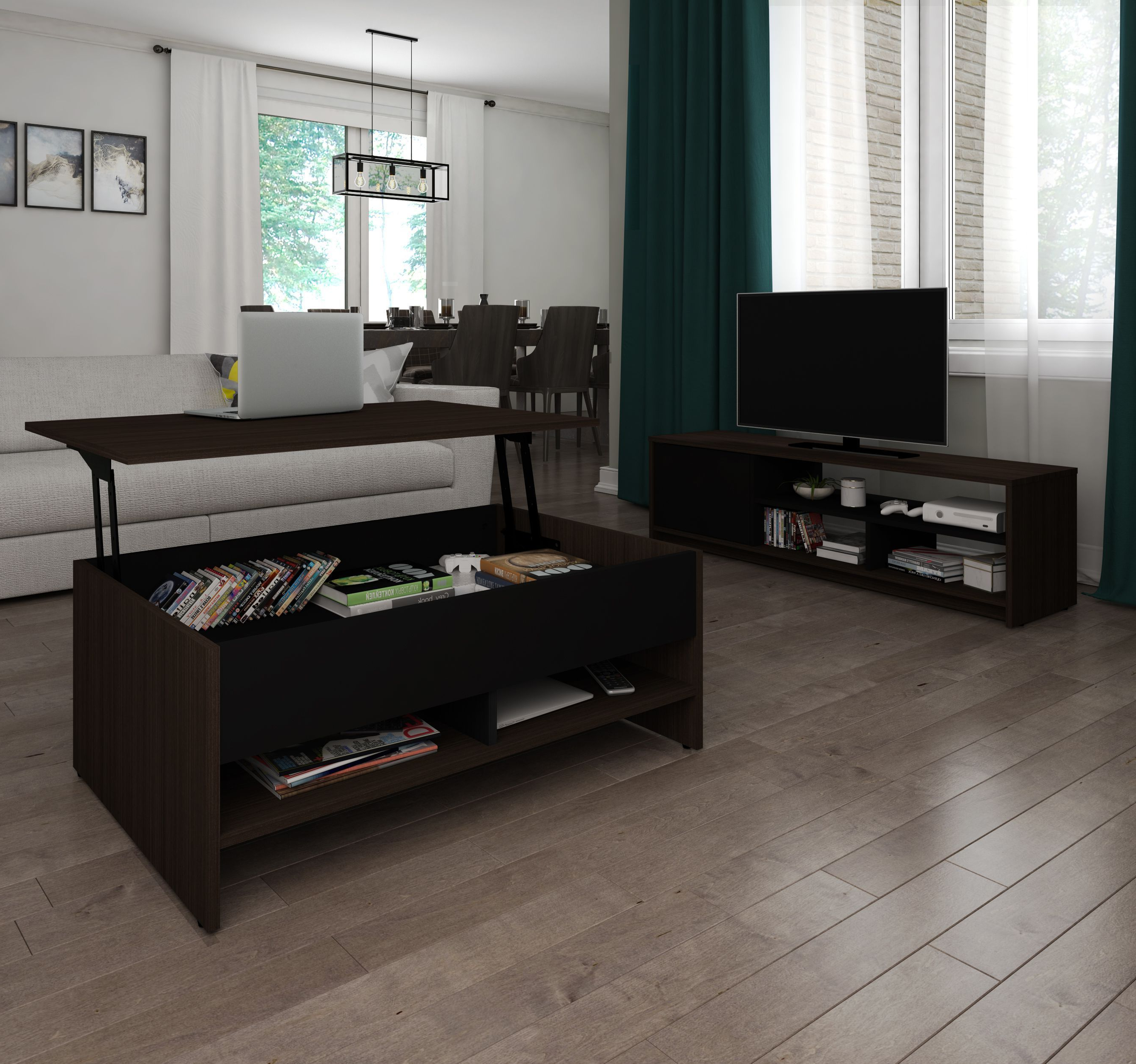 Most Recent Coffee Tables And Tv Stands Within Bestar Small Space Dark Chocolate And Black Lift Top Storage Coffee (View 11 of 20)