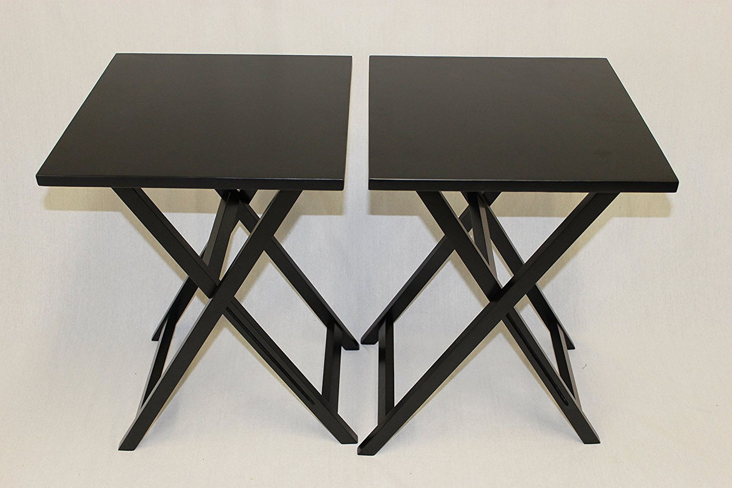 Most Recent Ehemco Ez Folding Tv Tray Table Square Top – Hard Wood In Black Set Pertaining To Folding Wooden Tv Tray Tables (View 15 of 20)