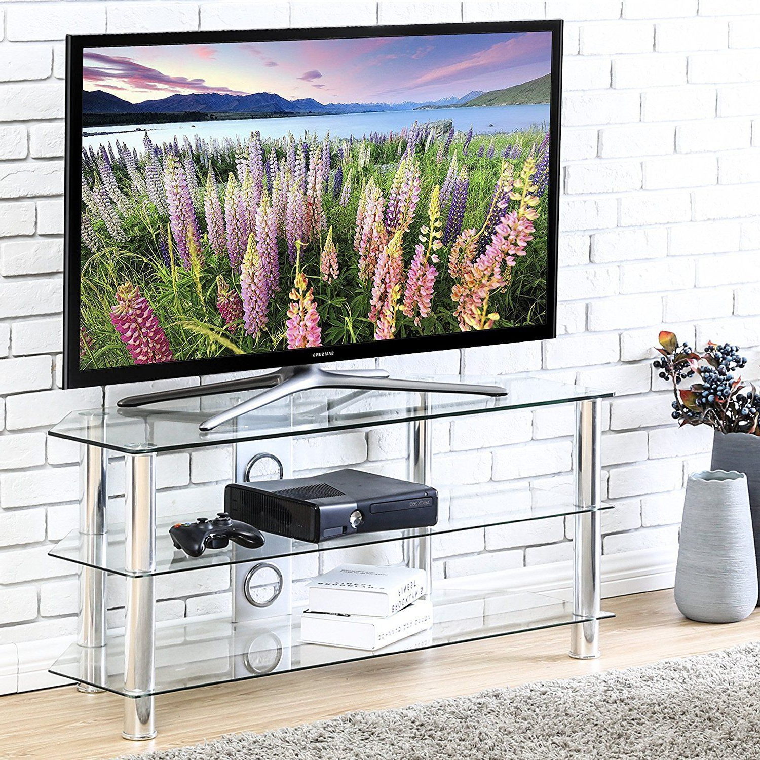 Most Recent Fitueyes Curved Glass Corner Tv Stand For Up To 46Inch Chrome Legs For Corner Tv Stands For 46 Inch Flat Screen (Gallery 13 of 20)